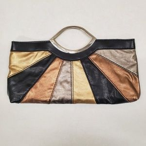 Metallic and black colorblock clutch handbag